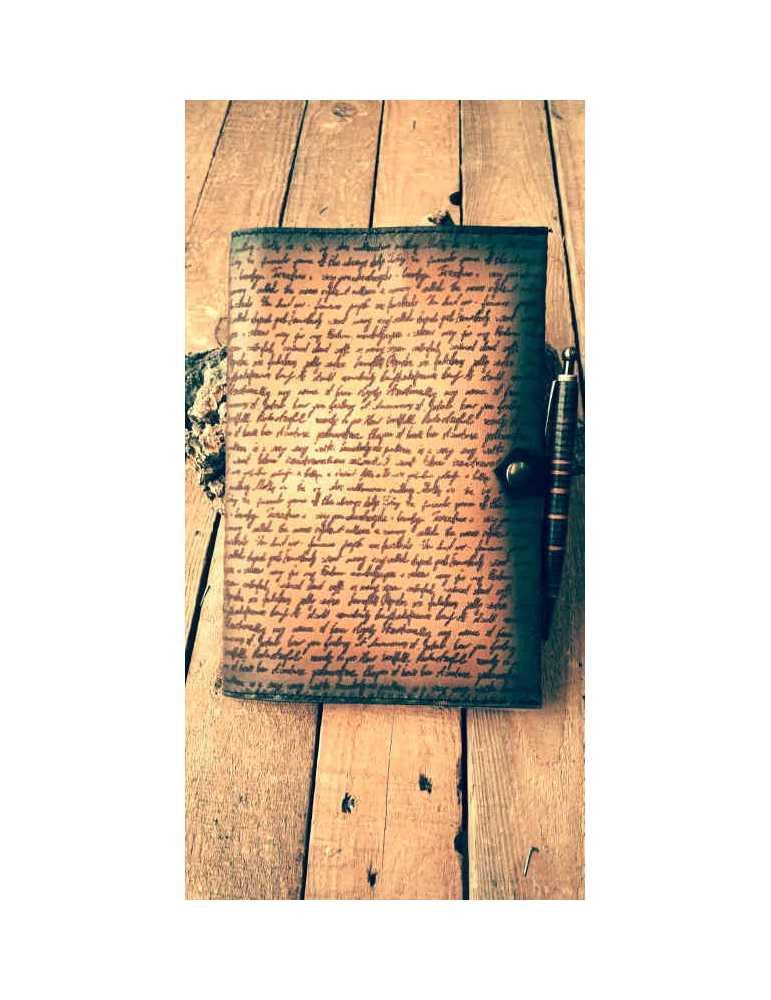 Tienda  Hieros Leather Funda de cuero para libros, agendas o cuadernos. Diseño Manuscrito Funda de cuero para libros, agendas o
