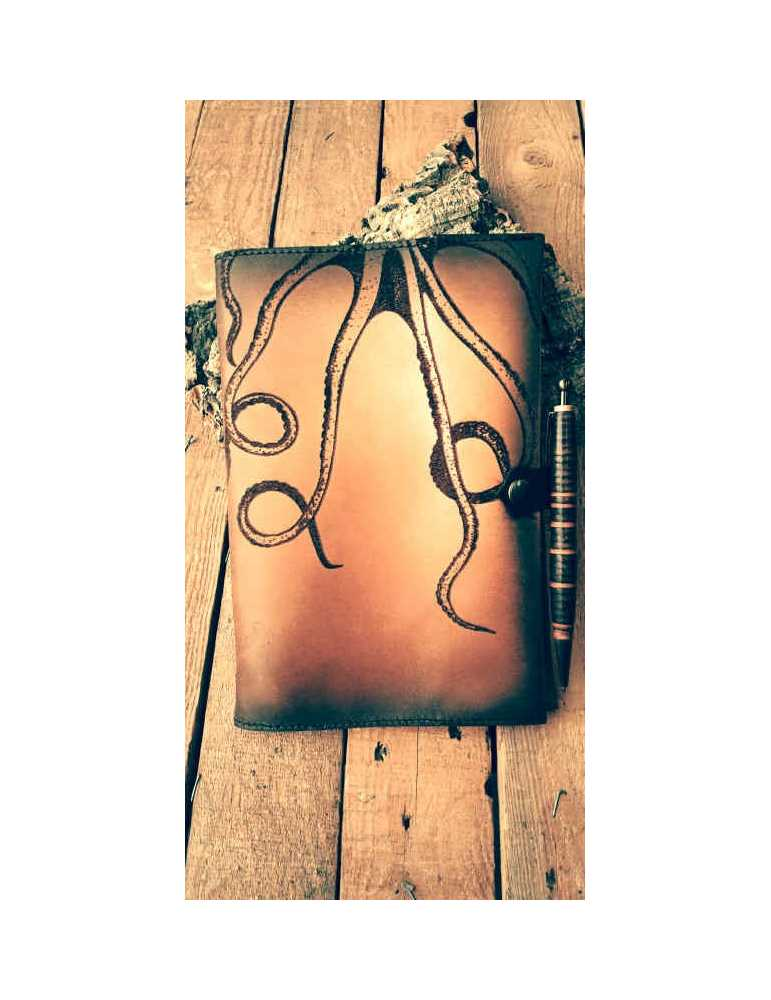 Fundas de cuero para libros  Hieros Leather Funda de cuero para libros, agendas o cuadernos. Diseño Patas Pulpo. A6 Funda de cue