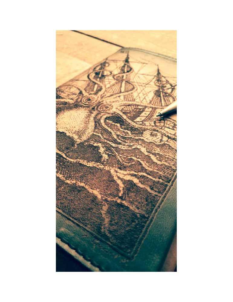 Fundas de cuero para libros  Hieros Leather Funda de cuero para libros, agendas o cuadernos. Diseño Kraken. A6 Funda de cuero pa