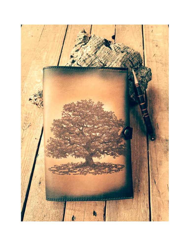 Fundas de cuero para libros  Hieros Leather Funda de cuero para libros, agendas o cuadernos. Diseño Roble. A6 Funda de cuero par