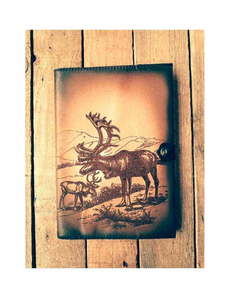 Fundas de cuero para libros  Hieros Leather Funda de cuero para libros, agendas o cuadernos. Diseño Renos. A6 Funda de cuero par