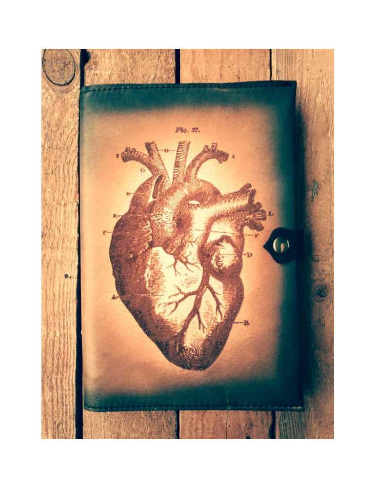 Fundas de cuero para libros  Hieros Leather Funda de cuero para libros, agendas o cuadernos. Diseño Corazón. A6 Funda de cuero p