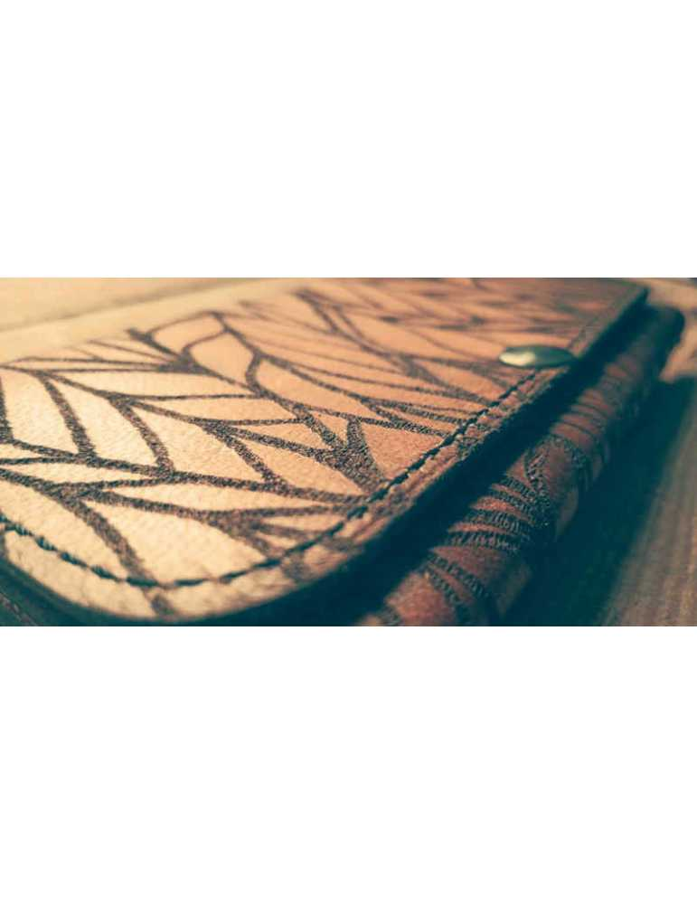leather wallet draw leaves