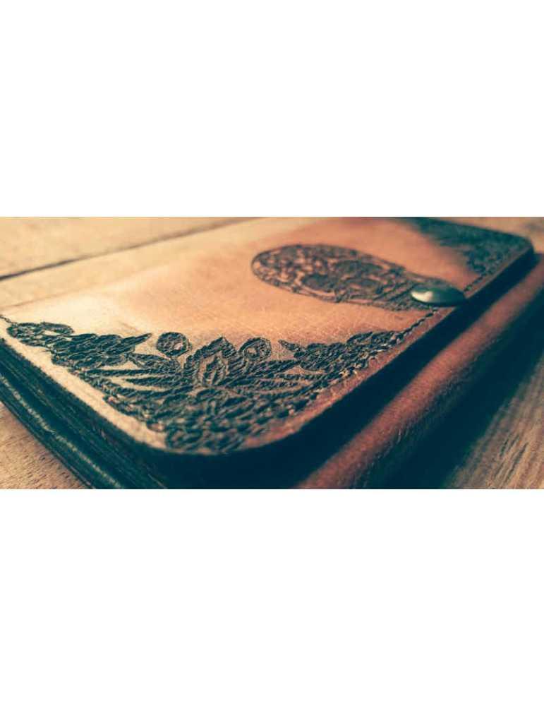 leather women wallet Mexican skull