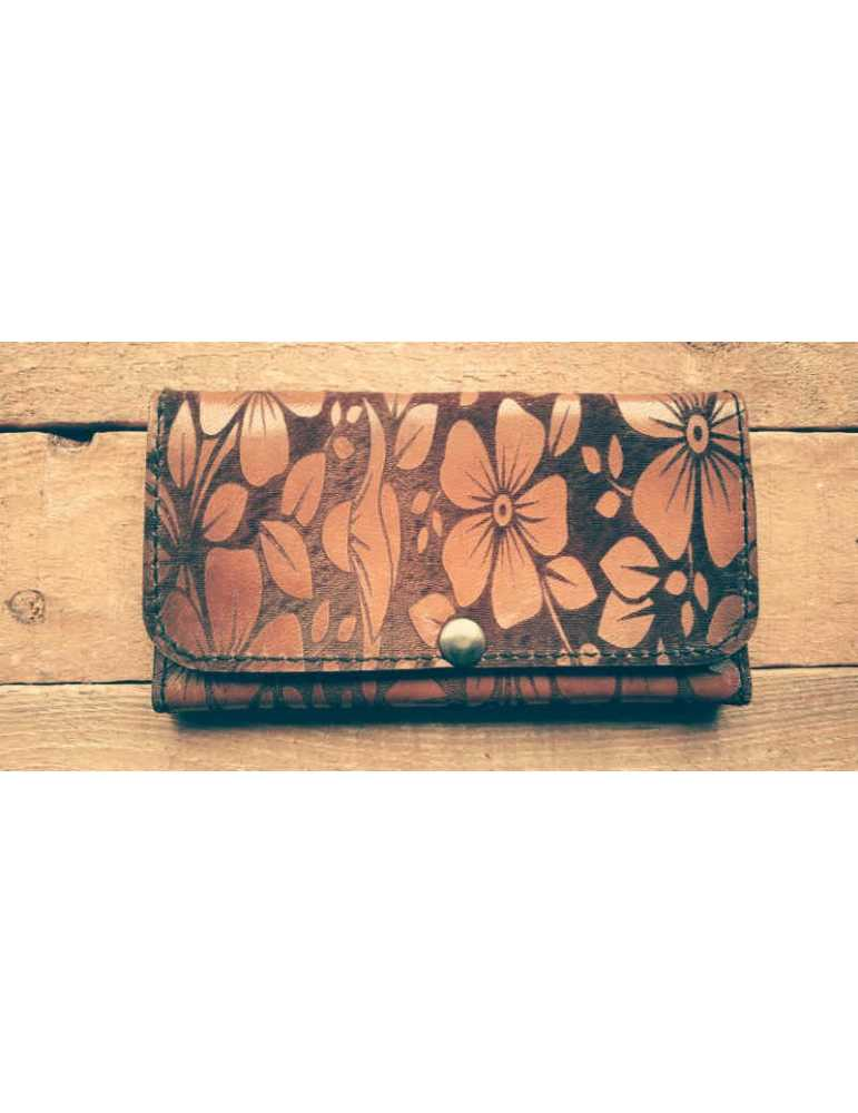 leather wallet flowers