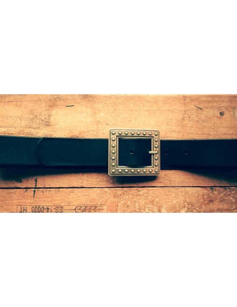 cinturon piel negro mujer