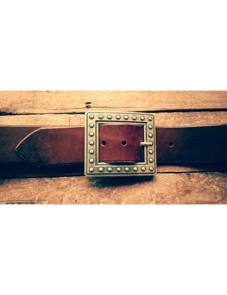 cinturon cuero marron mujer