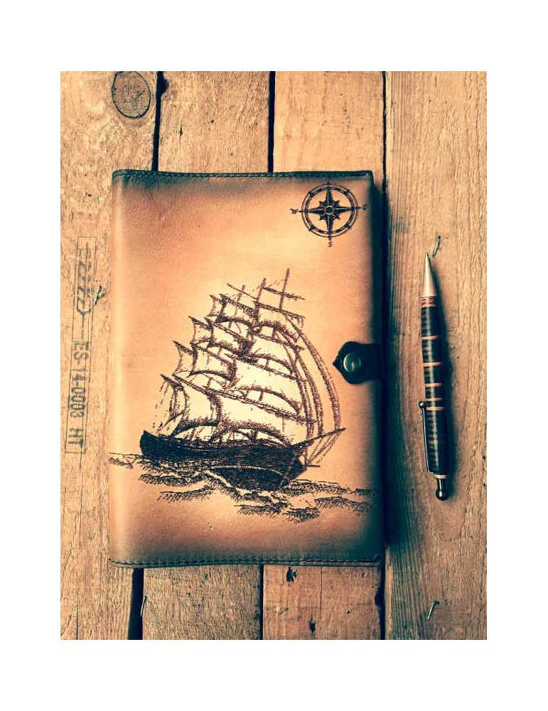 Tienda  Hieros Leather Funda de cuero para libros, agendas o cuadernos. Diseño Barco Brújula Funda de cuero para libros, agendas