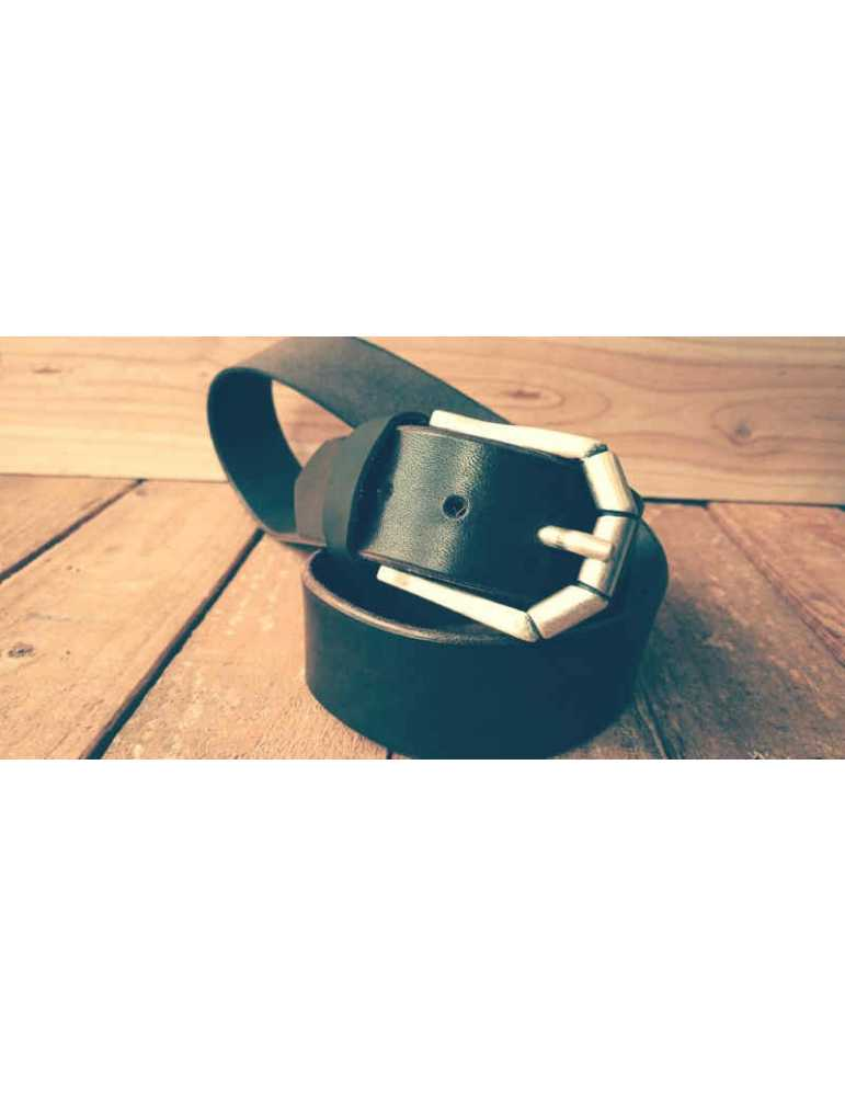 cinturon cuero marron artesania